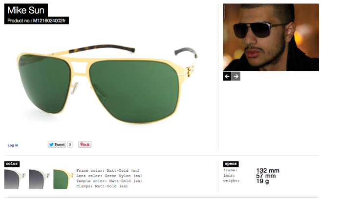 mike sun matt gold lens green nylon